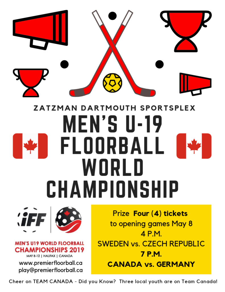Poster: Auction Item for Sackville Bedford Special Olympics - Four tickets to Men's U-19 Floorball World Championship, Opening games at Zatzman Dartmouth CANADA vs GERMANY, p.m. Poster and campaign by Our Social Market (c) 2019.